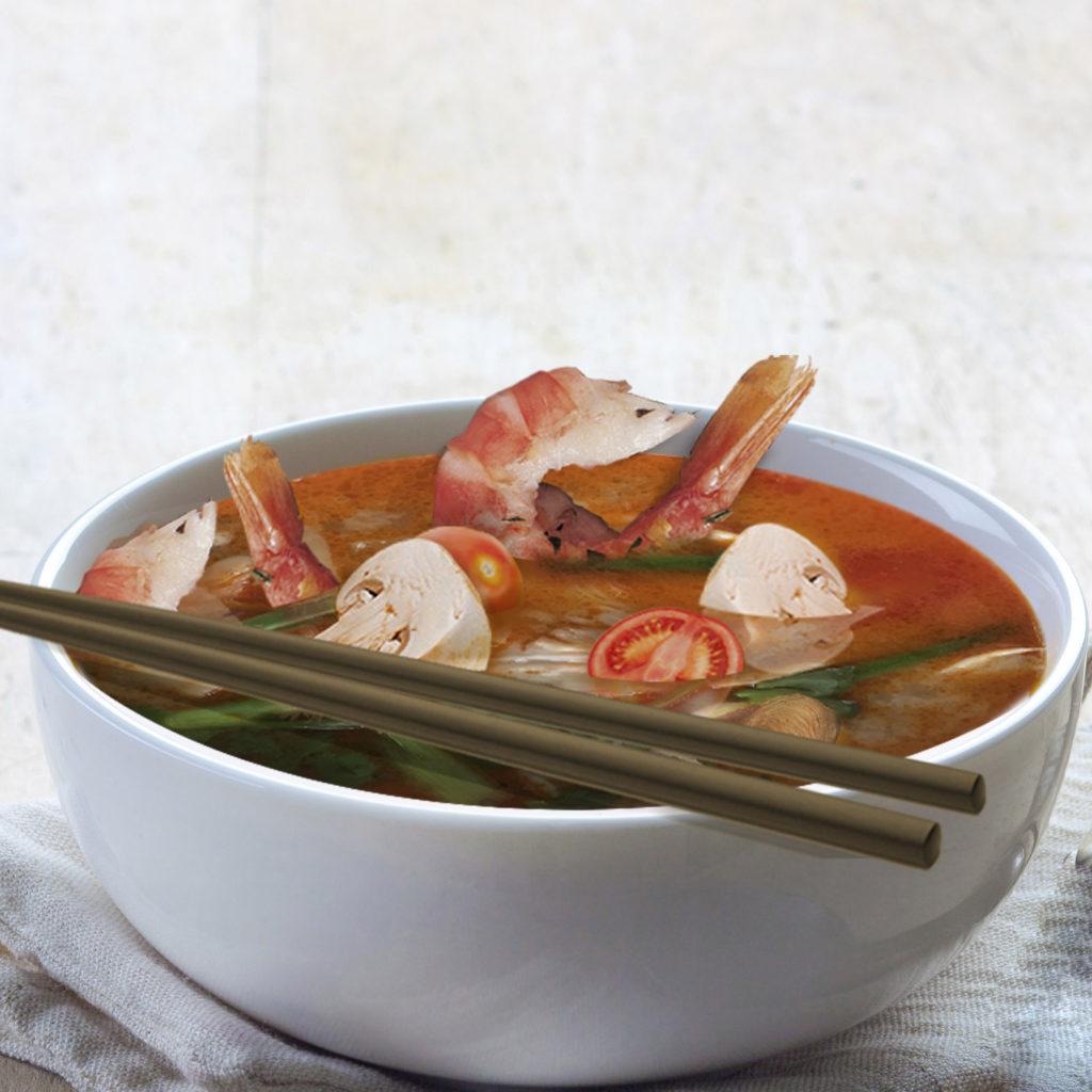 Tom Yam Gung Suppe mit Garnelen