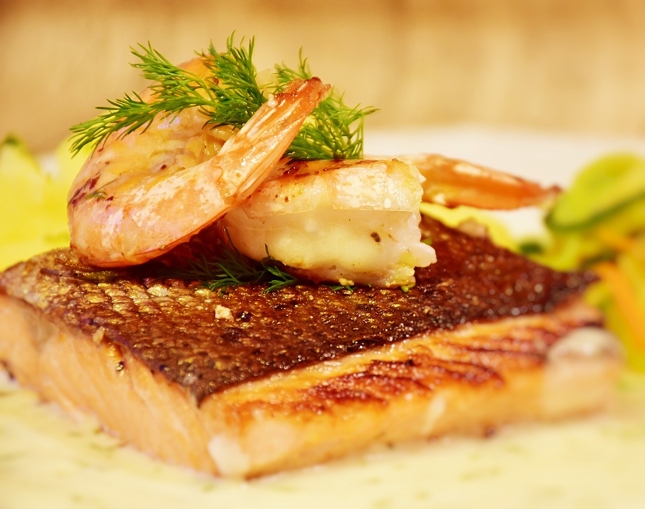 salmon, fish, scampi